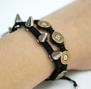 Bullet Woven Bracelet with Real Bullet Bases