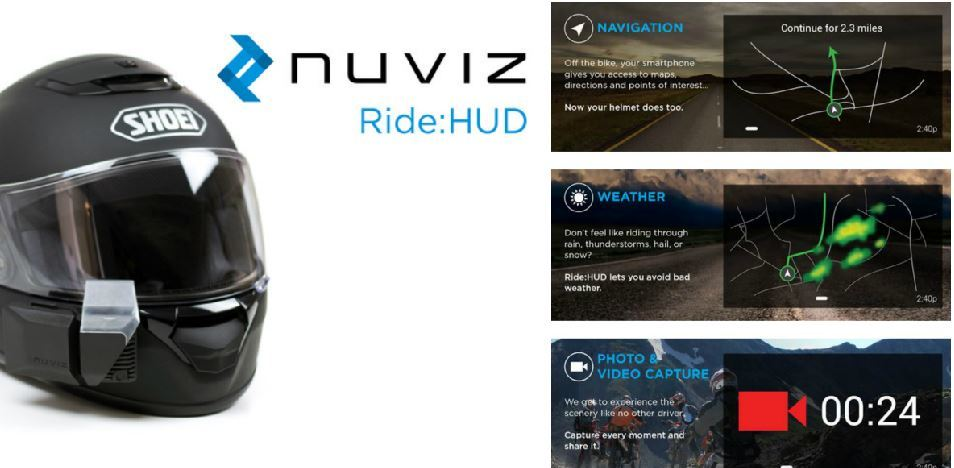 Nuviz Ride Hud Heads Up Display For Motorcycle Helmets