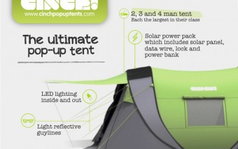 Cinch!: Pop-up Tent with Solar Power + LED