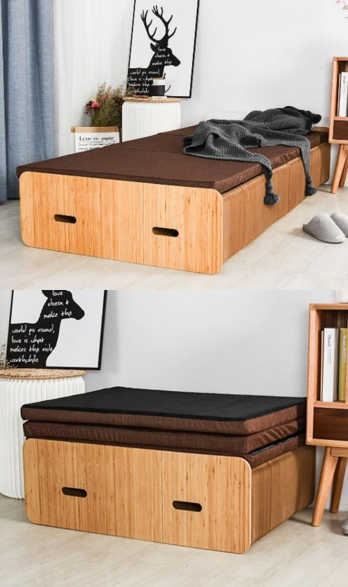 Extendable Paper Bed With Accordion Folding